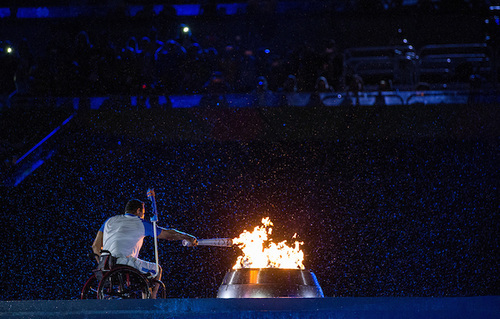 Clodoaldo Silva Brazilian Paralympic swimmer lights the Cauldron at the Opening Ceremony of the Rio 2016 Paralympic Games at the Maracana Stadium. The Paralympic Games, Rio de Janeiro, Brazil, Wednesday 7th September 2016. Photo: Al Tielemans for OIS/IOC.  Handout image supplied by OIS/IOC